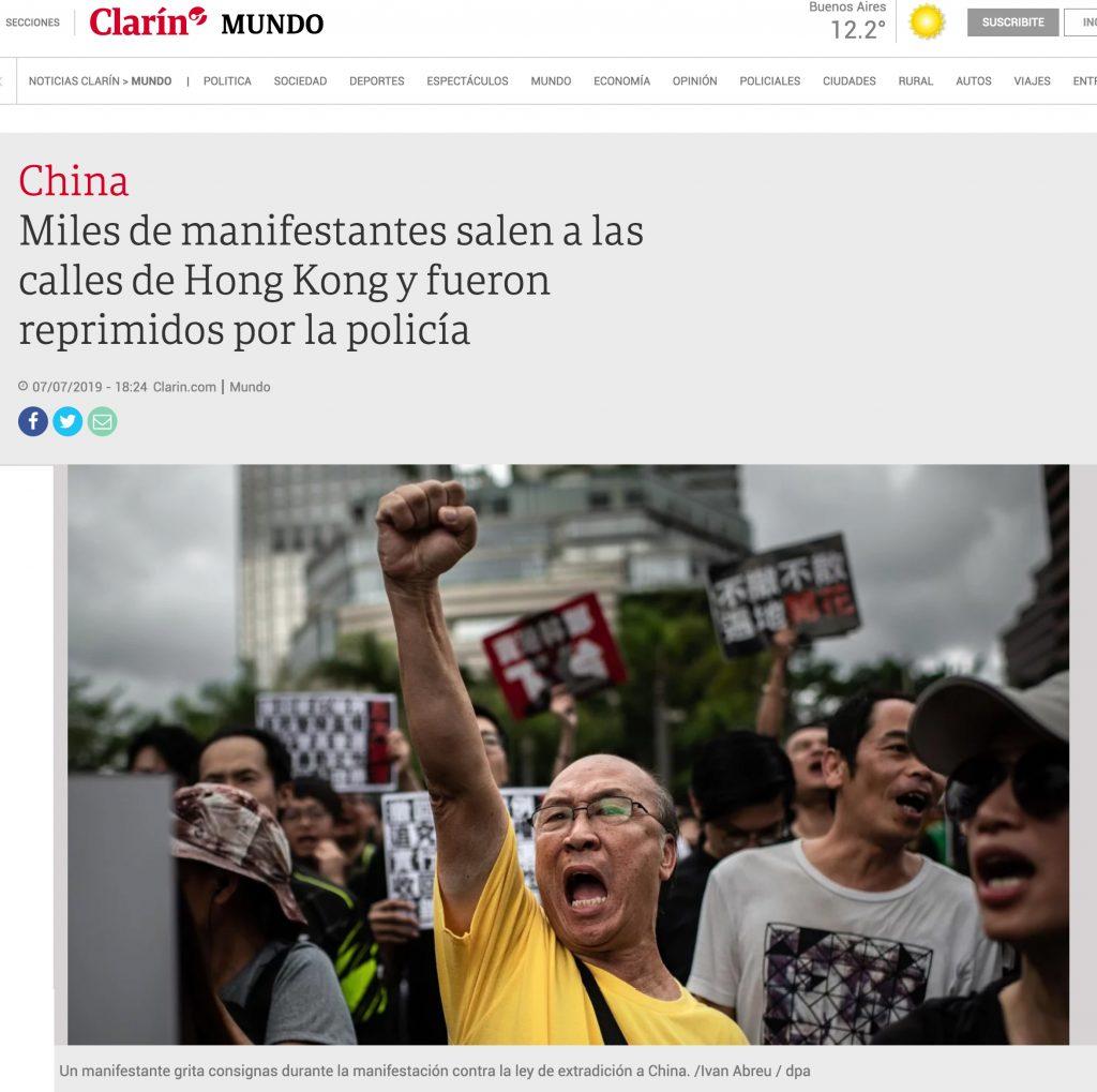 El Clarín, Argentina - Hong Kong Protests