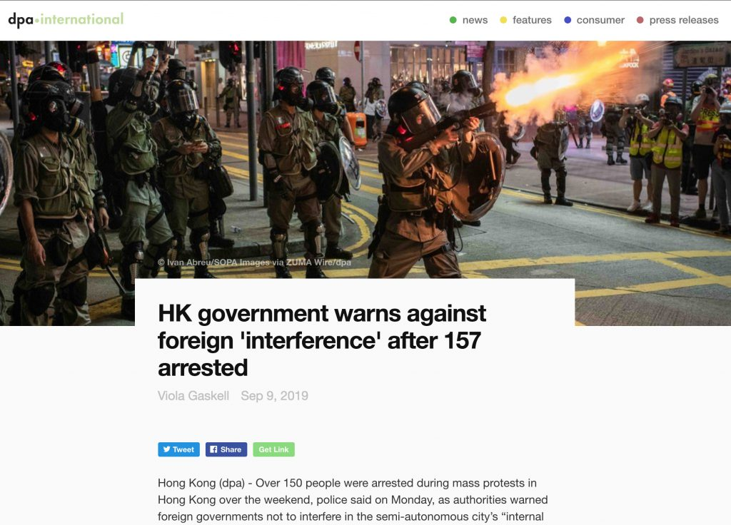 Deutsche Presse-Agentur International - Protests Hong Kong