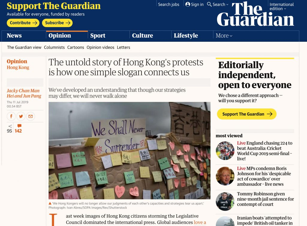 The Guardian - Protests Hong Kong
