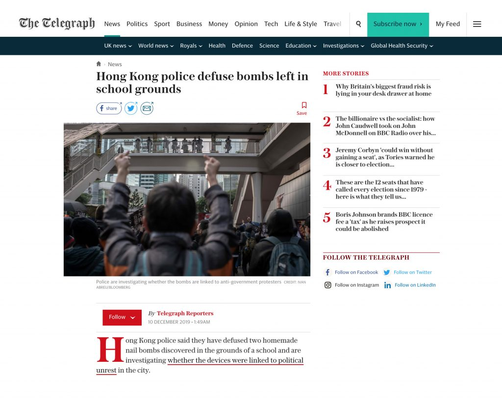 The Telegraph - Hong Kong Protests