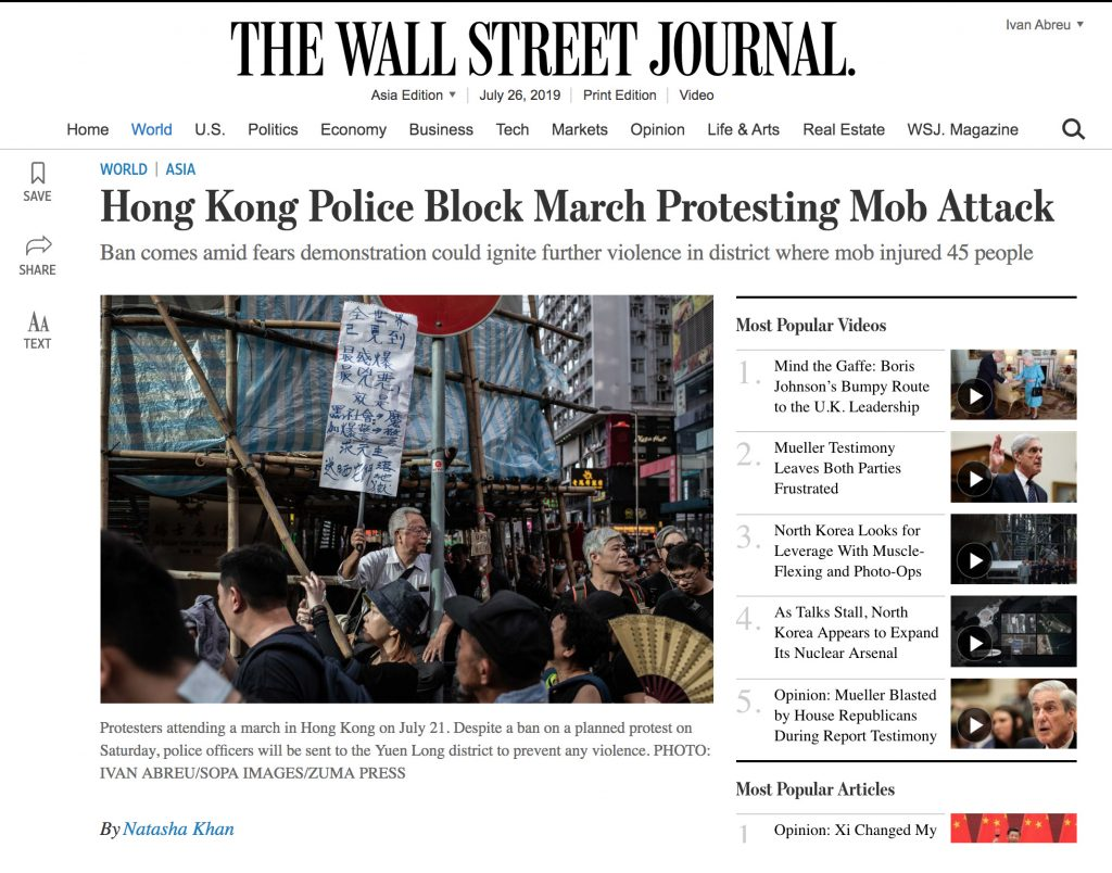 The Wall Street Journal - Hong Kong Protests