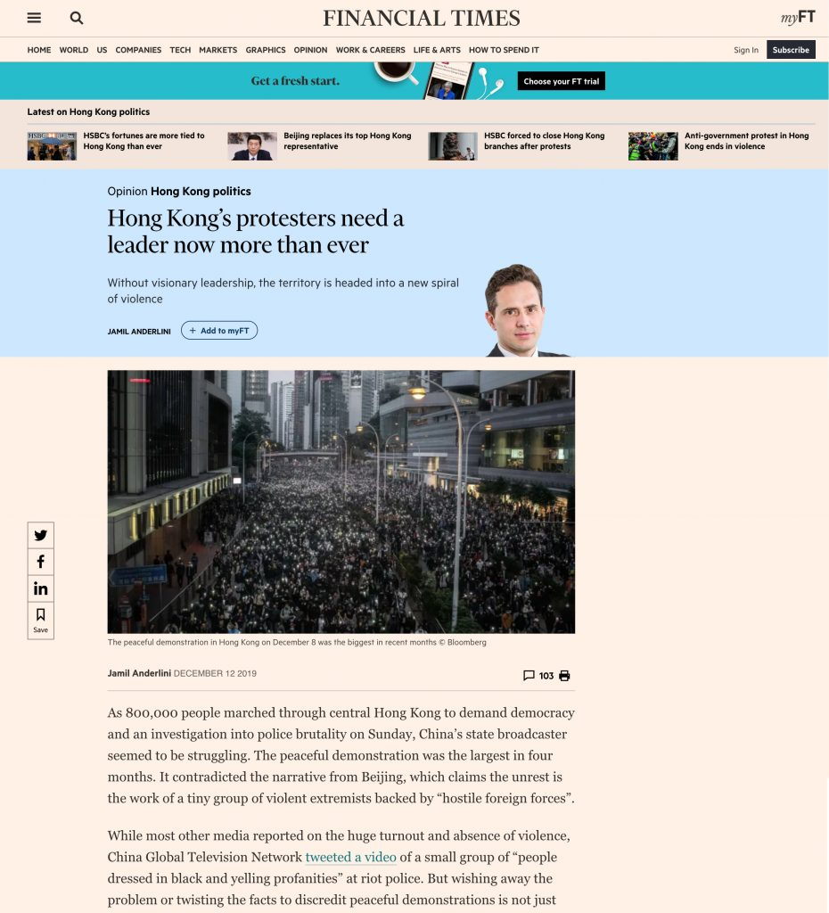 Financial Times - Protests Hong Kong