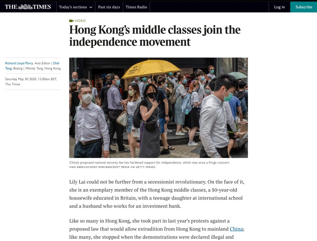 The Times UK - Hong Kong Protests